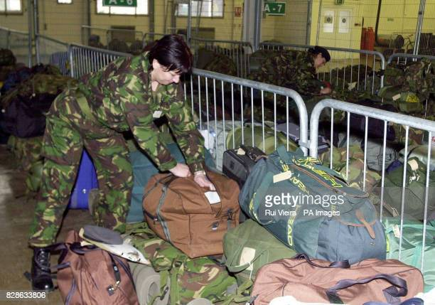 Territorial Army soldier Captain Lindon Davies from Nuneaton packs her kit at Chetwyn Army Barracks in Nottingham as TA soldiers get ready for...