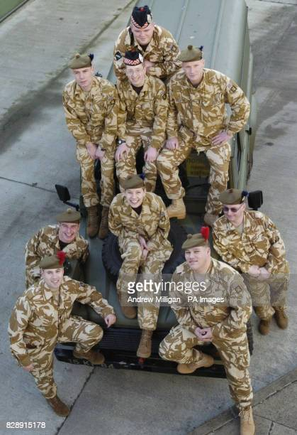 Territorial Army troops from the 51st Highland Regiment Pte David Connolly bin man from Dumbarton Pte Andy Lingard storeman from Inverness Highlander...