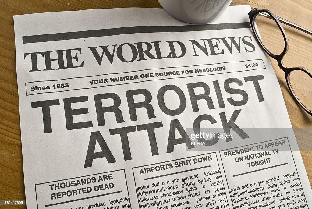 Terrorist Attack Headline : Stock Photo