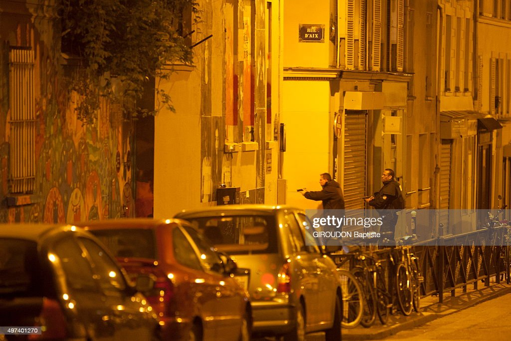 PARIS, FRANCE - NOVEMBER 13? 2015. Terrorist attacks in Paris at the Bataclan concert hall and in the streets of the 11th district on November 13, 2015. Rue d'Aix the police looking for the terrorists.