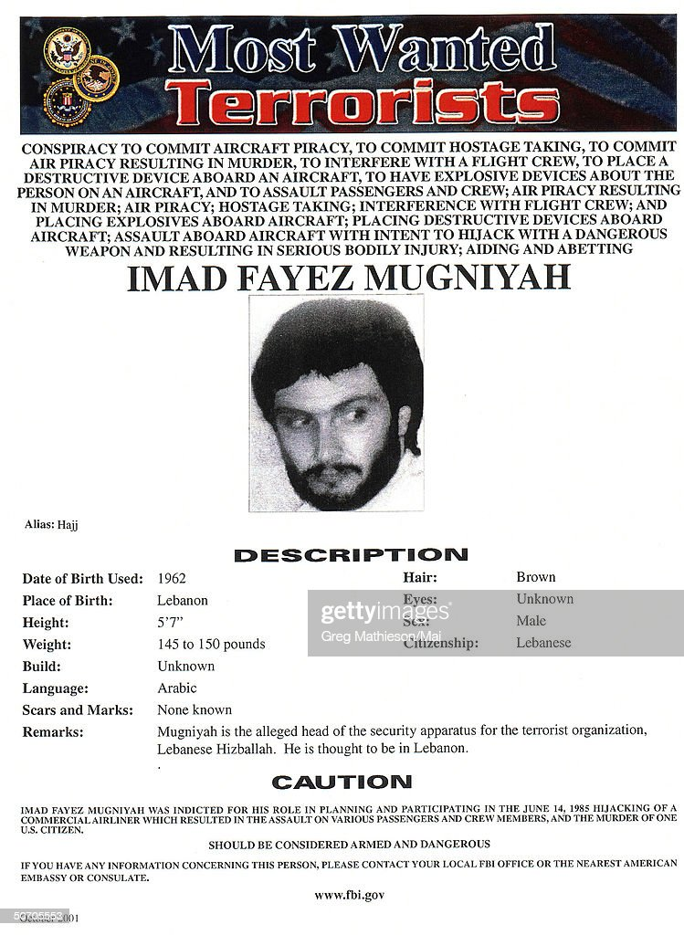 Terrorist Imad Fayez Mugniyah pictured on FBI Most Wanted poster an initiative of the War on Terrorism