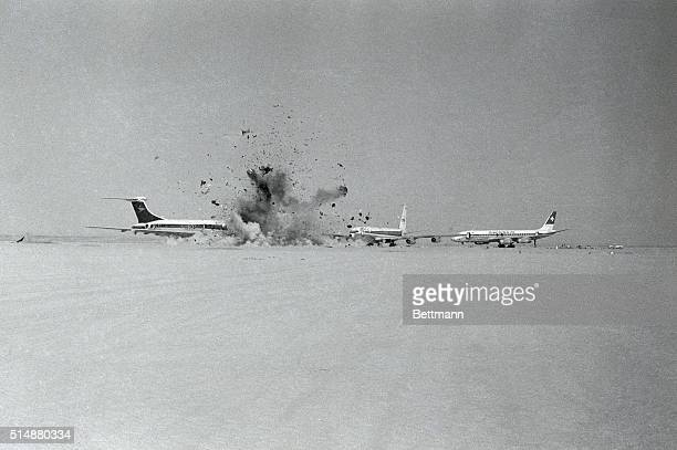 Terrorists blow up one of three hijacked airplanes after removing hostages The terrorists agreed to free all the hostages except for forty Israelis...