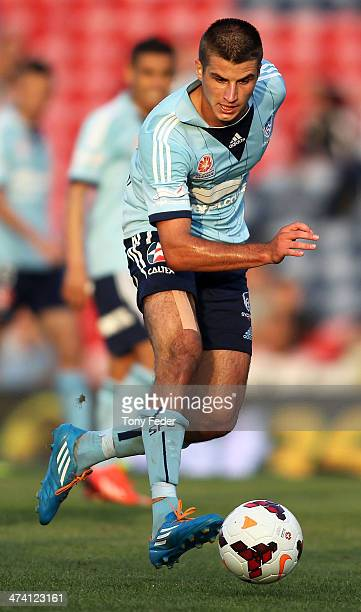 Terry Antonis of of Sydney FC in action during the round 20 ALeague match between Newcastle Jets v Sydney FC at Hunter Stadium on February 22 2014 in...