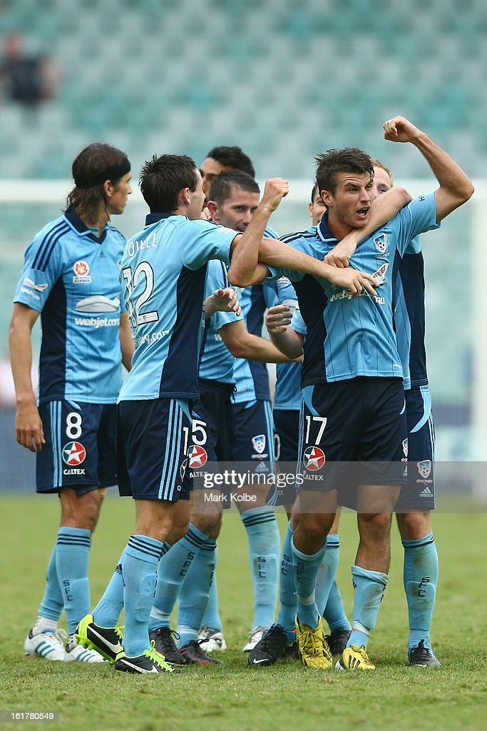 Terry Antonis of Sydney FC celebrates scoring a goal during the round 21 A-League match between Sydney FC and Adelaide United at Allianz Stadium on February 16, 2013 in Sydney, Australia.