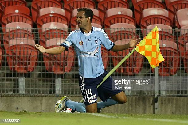 Terry Antonis of Sydney FC gets tangled with the corner flag during the round 20 ALeague match between the Newcastle Jets and Sydney FC at Hunter...