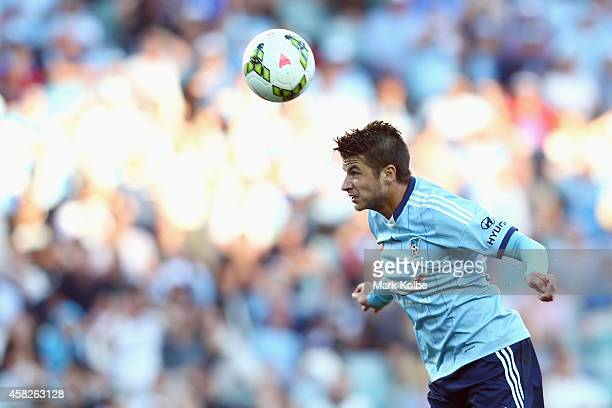 Terry Antonis of Sydney FC heads the ball at goal during the round four ALeague match between Sydney FC and the Central Coast Mariners at Allianz...