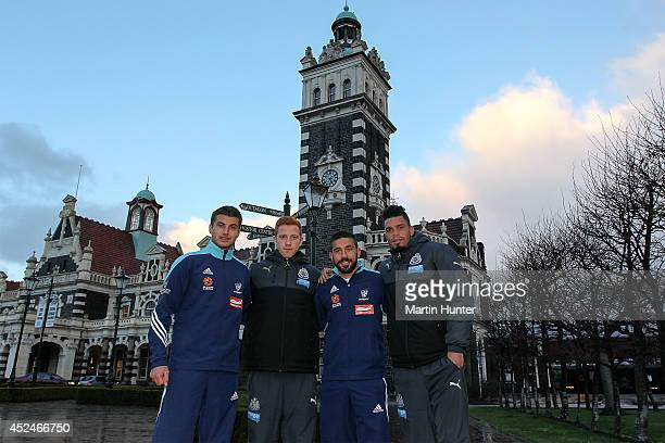 Terry Antonis of Sydney FC Jack Colback of Newcastle United Peter Triantis of Sydney FC and Emmanuel Riviere of Newcastle United pose outside Dunedin...