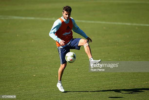 Terry Antonis of Sydney FC trains during a Sydney FC ALeague training session at Macquarie Uni on May 8 2015 in Sydney Australia