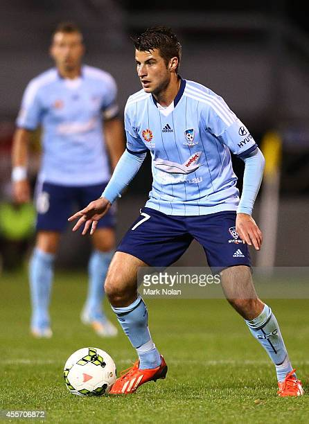 Terry Antonis of Sydney in action during the ALeague preseason match between Sydney FC and the Wellington Phoenix at WIN Stadium on September 19 2014...