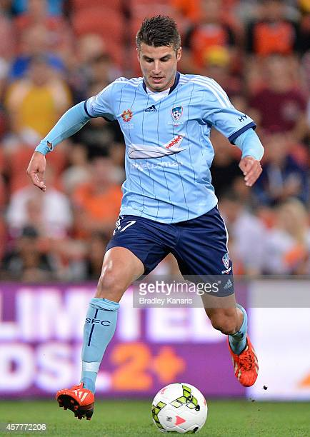 Terry Antonis of Sydney in action during the round three ALeague match between Brisbane Roar and Sydney FC at Suncorp Stadium on October 24 2014 in...