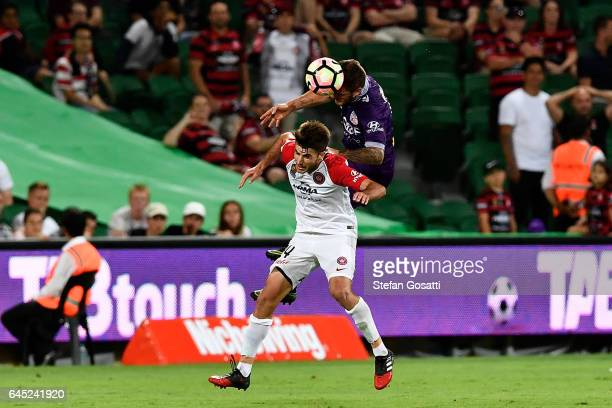 Terry Antonis of the Wanderers and Josh Risdon of the Glory compete for the ball during the round 21 ALeague match between the Perth Glory and...