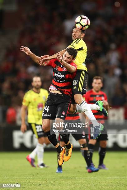 Terry Antonis of the Wanderers competes with Vince Lia of the Phoenix during the round 23 ALeague match between the Western Sydney Wanderers and the...