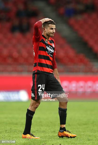 Terry Antonis of the Wanderers reacts after missing a shot on goal during the round 22 ALeague match between the Western Sydney Wanderers and...