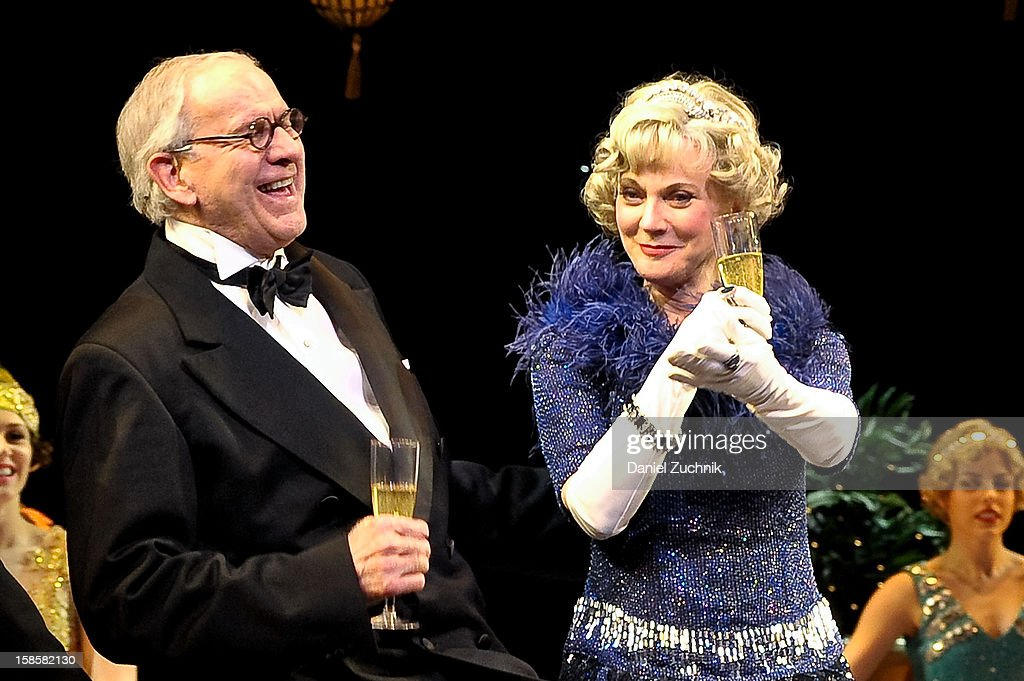 Terry Beaver and Blythe Danner attend the 'Nice Work If You Can Get It' Broadway curtain call at Imperial Theatre on December 19, 2012 in New York City.