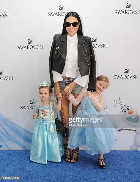 Terry Biviano and daugters attend Swarovski Frozen SingALong event at Dendy Opera Quays on April 9 2016 in Sydney Australia