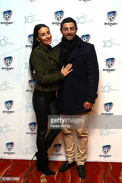Terry Biviano and husband Anthony Minichiello pose for a photo during a VIP function at the international friendly match between Sydney FC and...