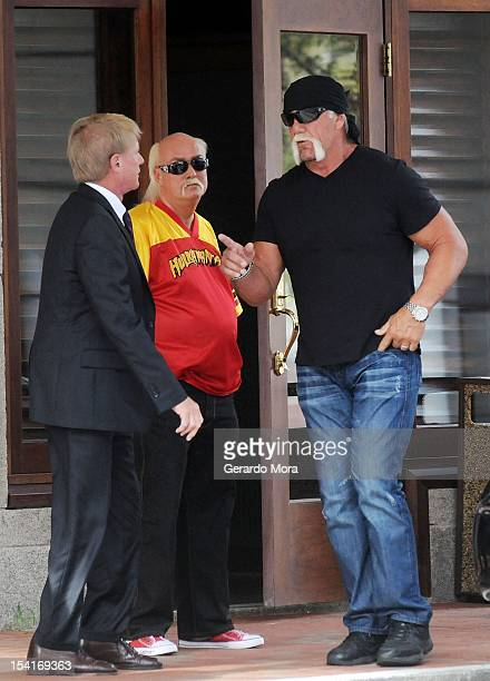 Terry Bollea aka Hulk Hogan and his attorney David Houston arrive for a press conference to discuss legal action being brought on his behalf October...