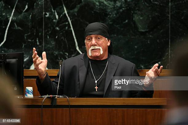 OUT Terry Bollea aka Hulk Hogan testifies in court during his trial against Gawker Media at the Pinellas County Courthouse on March 8 2016 in St...