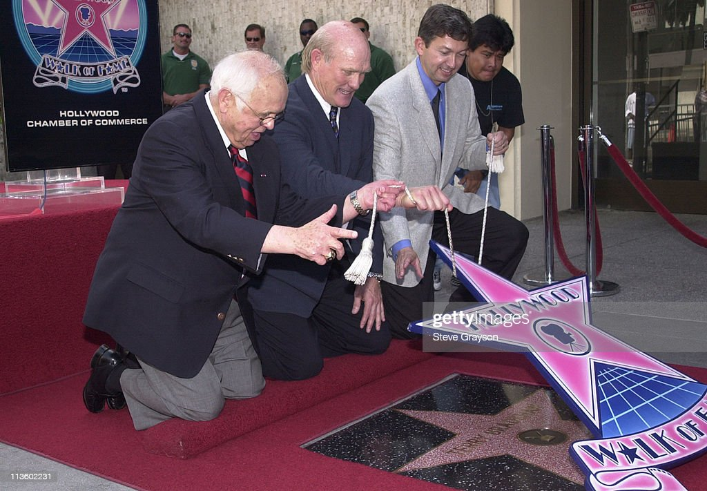 Terry Bradshaw Johnny Grant Leron Gubler during Terry Bradshaw Honored with a Star on the Hollywood Walk of Fame at Hollywoood Boulevard in Hollywood...
