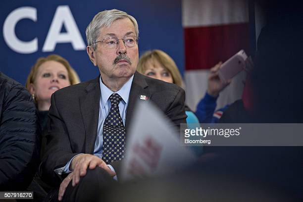 Terry Branstad governor of Iowa listens during a campaign event for Jeb Bush former governor of Florida and 2016 Republican presidential candidate in...