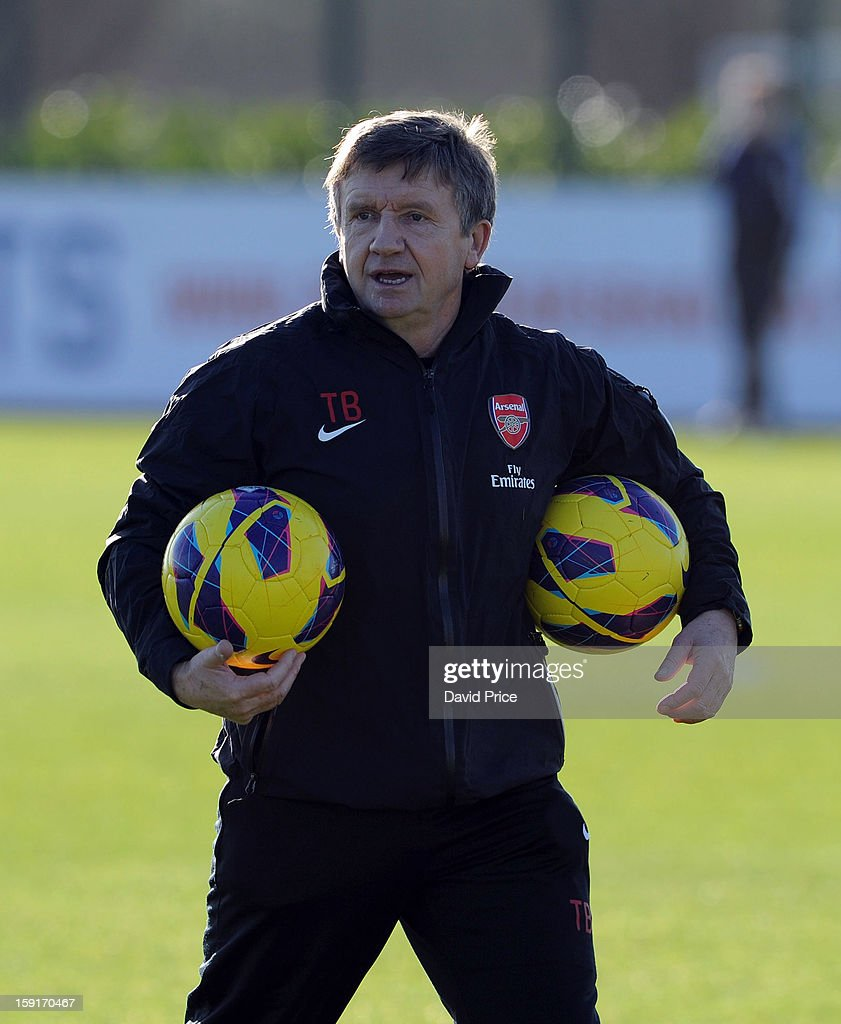 Terry Burton the Arsenal U21 coach looks on before the Barclays Premier U21 match between Arsenal U21 and West Bromwich Albion U21 at London Colney on January 9, 2013 in St Albans, United Kingdom.