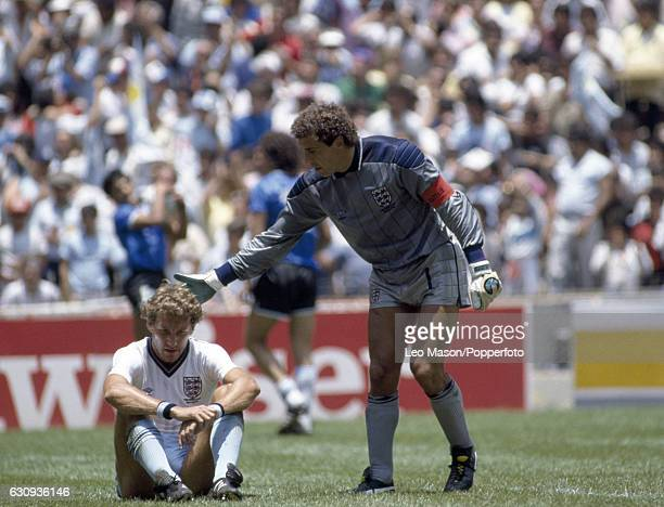 Terry Butcher and goalkeeper Peter Shilton of England after Diego Maradona had scored Argentina's 2nd goal in the World Cup QuarterFinal match...