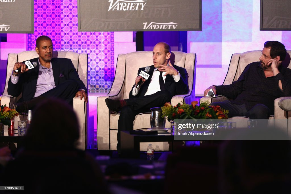Terry City, VP West Coast BuzzFeed, Gregg Colvin, SVP Universal McCann, and Allen DeBevoise, CEO Machinima speaks at the 'Branded Entertainment All-Stars' panel during Variety Presents