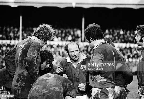 Terry Cobner the British Lions Pack Leader gives a half time team talk during the second test match between New Zealand and the British Lions on July...