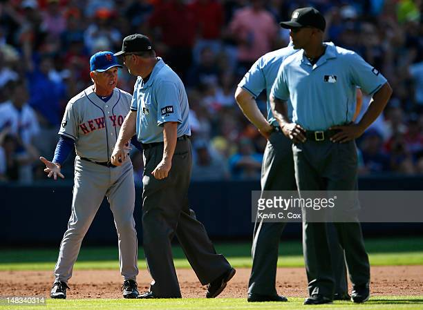 Terry Collins of the New York Mets is ejected in the fifth inning by third base umpire Dale Scott for arguing a call against the Atlanta Braves at...