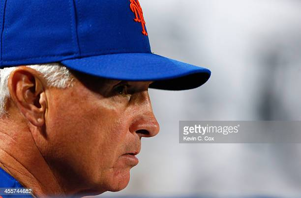 Terry Collins of the New York Mets looks on during the first inning against the Atlanta Braves at Turner Field on September 19 2014 in Atlanta Georgia
