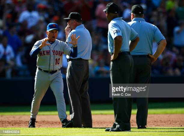 Terry Collins of the New York Mets reacts after being ejected in the fifth inning by third base umpire Dale Scott for arguing a call against the...