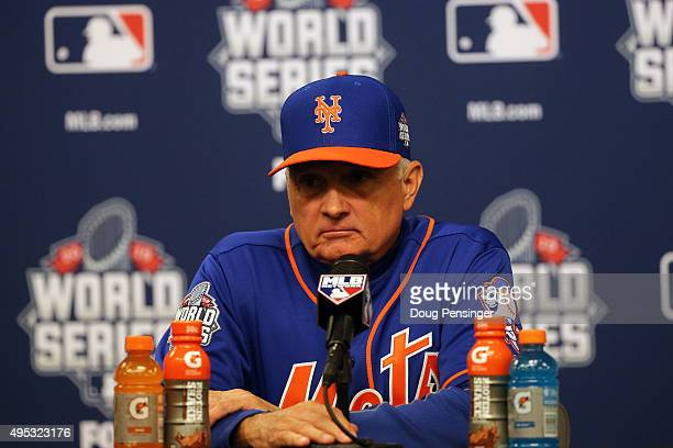 Terry Collins of the New York Mets speaks to the media after Game Five of the 2015 World Series at Citi Field on November 1 2015 in the Flushing...