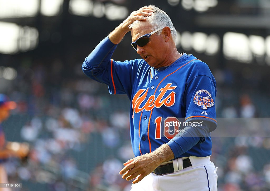 <a gi-track='captionPersonalityLinkClicked' href=/galleries/search?phrase=Terry+Collins&family=editorial&specificpeople=2593404 ng-click='$event.stopPropagation()'>Terry Collins</a> #10 of the New York Mets walks back to the dugout after being ejected in the tenth inning against the Atlanta Braves at Citi Field on August 21, 2013 at Citi Field in the Flushing neighborhood of the Queens borough of New York City. Braves defeated the Mets 4-1.
