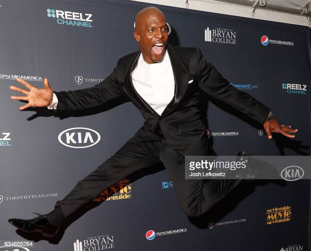Terry Crews is seen leaping on the red carpet while he attends the 25th Annual Movieguide Awards Gala at Universal Hilton Hotel on February 10 2017...