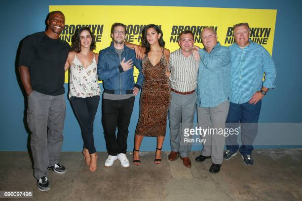 Terry Crews Melissa Fumero Andy Samberg Stephanie Beatriz Joe Lo Truglio Dirk Blocker and Joel McKinnon Miller attend Fox's 'Brooklyn NineNine' FYC @...