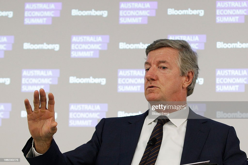 Terry Davis, chief executive officer of Coca-Cola Amatil Ltd., gestures as he speaks during the Bloomberg Australia Economic Summit in Sydney, Australia, on Wednesday, April 10, 2013. Davis said the strong Australian currency is decimating some manufacturers. Photographer: Brendon Thorne/Bloomberg via Getty Images