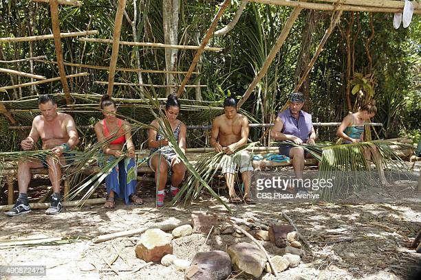 Terry Deitz Kelly Wiglesworth Shirin Oskooi Woo Hwang Jeff Varner and AbiMaria Gomes during the special 90minute season premiere of SURVIVOR...