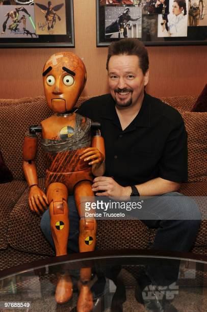 Terry Fator introduces his new puppet named 'Rex' backstage at Terry Fator's one year anniversary show at The Mirage Hotel and Casino on March 13...