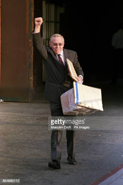 Terry Fields Labour MP for Broadgreen Liverpool leaves Walton Prison after serving a 60 day prison sentence for nonpayment of the Poll Tax