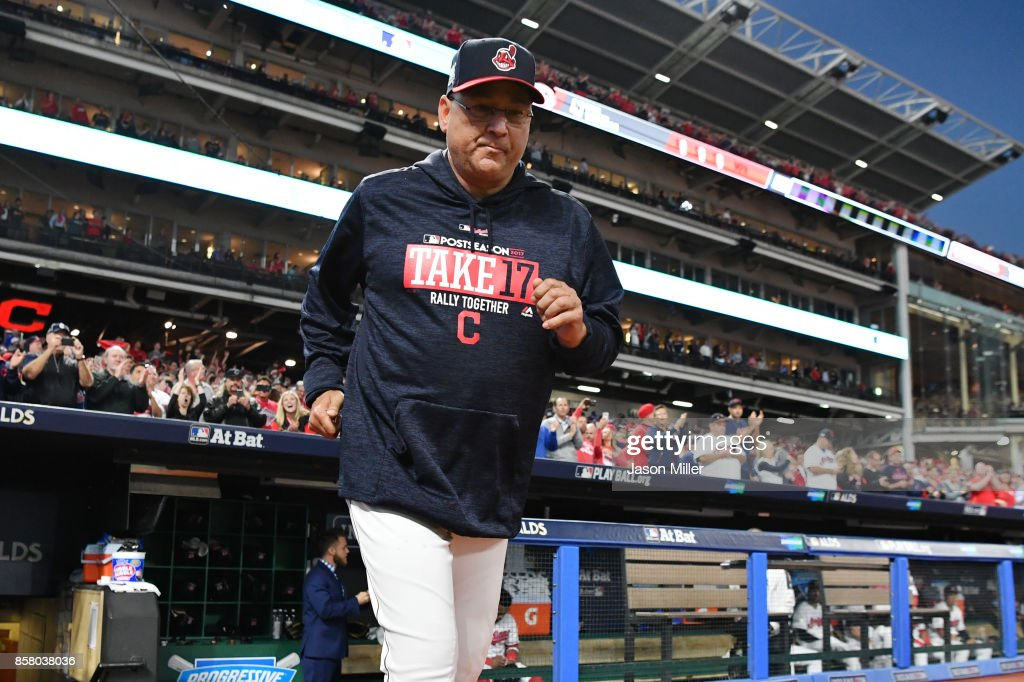 Terry Francona #17 of the Cleveland Indians is introduced prior to game one of the American League Division Series against the New York Yankees at Progressive Field on October 5, 2017 in Cleveland, Ohio.