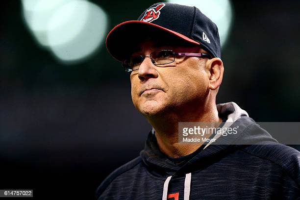 Terry Francona of the Cleveland Indians looks on against the Toronto Blue Jays during game one of the American League Championship Series at...