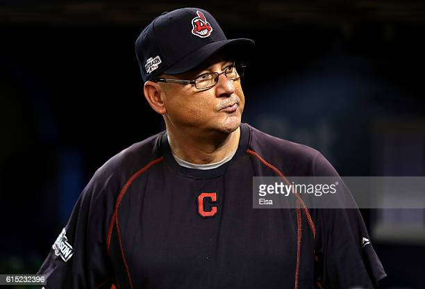 Terry Francona of the Cleveland Indians looks on prior to game three of the American League Championship Series against the Toronto Blue Jays at...