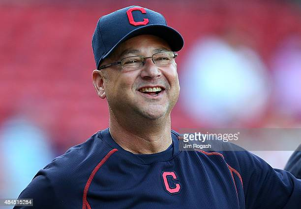 Terry Francona of the Cleveland Indians reacts during batting practice before a game with the Boston Red Sox on August 19 2015 in Boston Massachusetts