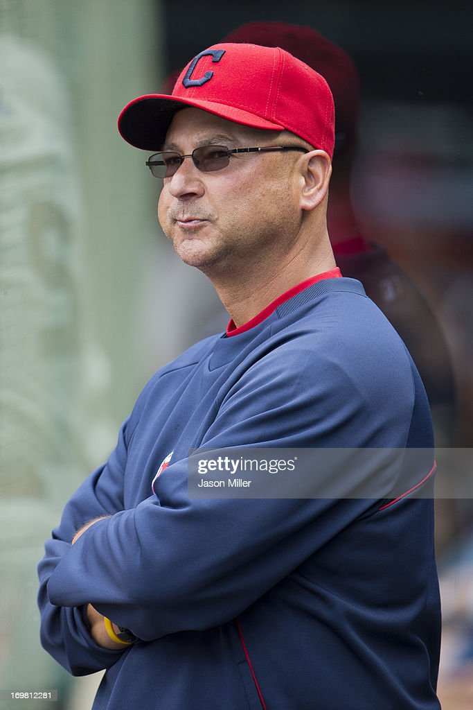 <a gi-track='captionPersonalityLinkClicked' href=/galleries/search?phrase=Terry+Francona&family=editorial&specificpeople=171936 ng-click='$event.stopPropagation()'>Terry Francona</a> #17 of the Cleveland Indians watches from the dugout during the second inning against the Tampa Bay Rays at Progressive Field on June 2, 2013 in Cleveland, Ohio.