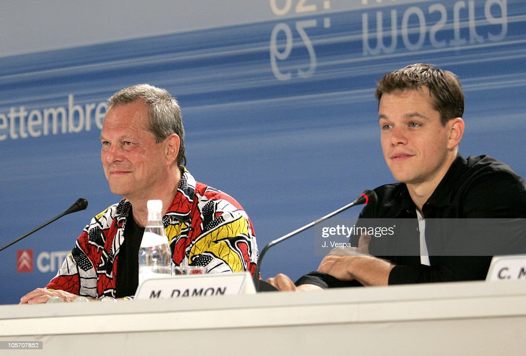 Terry Gilliam director and Matt Damon during 2005 Venice Film Festival 'The Brothers Grimm' Press Conference at Casino Palace in Venice Lido Italy