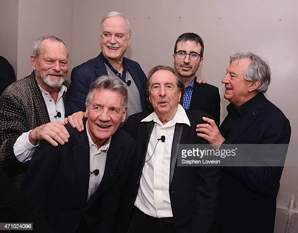 Terry Gilliam Michael Palin John Cleese Eric Idle John Oliver and Terry Jones pose for a photo backstage at the 'Monty Python And The Holy Grail'...