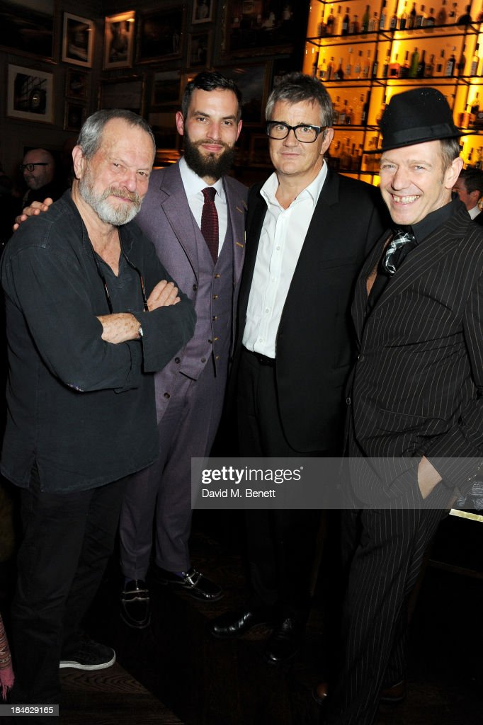 Terry Gilliam, Sandro Kopp, Jay Jopling and Paul Simonon attend the London EDITION and NOWNESS dinner to celebrate ON COLLABORATION on October 14, 2013 in London, England.