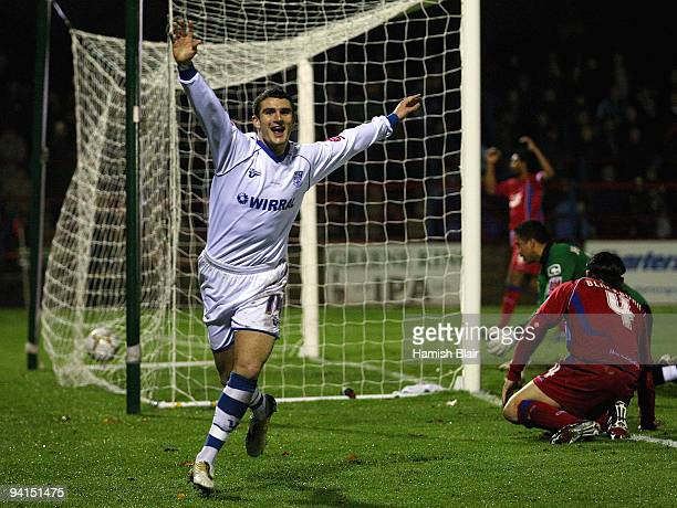 Terry Gornell of Tranmere celebrates after scoring his team's second goal during the FA Cup sponsored by EON 2nd Round Replay match between Aldershot...