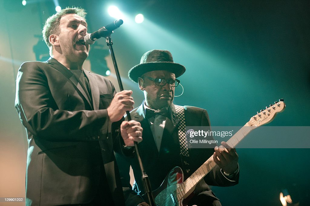 Terry Hall and Lynval Golding of The Specials perform onstage at Nottingham Capital FM Arena on October 21, 2011 in Nottingham, United Kingdom.