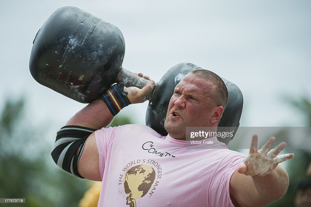 Terry Hollands of United Kingdom competes at the Circus Medley event during the World's Strongest Man competition at Yalong Bay Cultural Square on August 24, 2013 in Hainan Island, China.